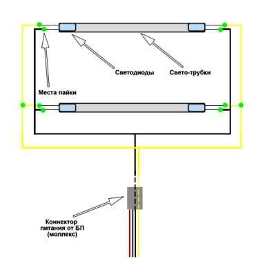 Схема параллельного соединения.